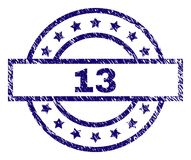 Grunge Textured 13 Stamp Seal. 13 stamp seal watermark with distress texture. Designed with rectangle, circles and stars. Blue rubber print of 13 text with Stock Illustration