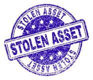 Grunge Textured STOLEN ASSET Stamp Seal. STOLEN ASSET stamp seal watermark with grunge texture. Designed with rounded rectangles and circles. Blue vector rubber royalty free illustration