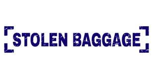 Grunge Textured STOLEN BAGGAGE Stamp Seal Between Corners. STOLEN BAGGAGE label seal imprint with corroded texture. Text label is placed between corners. Blue stock illustration