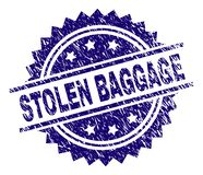 Grunge Textured STOLEN BAGGAGE Stamp Seal. STOLEN BAGGAGE stamp seal watermark with distress style. Blue vector rubber print of STOLEN BAGGAGE tag with scratched vector illustration