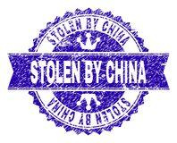 Grunge Textured STOLEN BY CHINA Stamp Seal with Ribbon. STOLEN BY CHINA rosette stamp seal imprint with grunge style. Designed with round rosette, ribbon and royalty free illustration