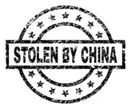 Grunge Textured STOLEN BY CHINA Stamp Seal. STOLEN BY CHINA stamp seal watermark with distress style. Designed with rectangle, circles and stars. Black vector royalty free illustration