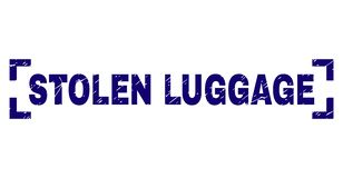 Grunge Textured STOLEN LUGGAGE Stamp Seal Between Corners. STOLEN LUGGAGE title seal print with grunge style. Text title is placed inside corners. Blue vector stock illustration
