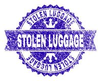 Grunge Textured STOLEN LUGGAGE Stamp Seal with Ribbon. STOLEN LUGGAGE rosette seal watermark with distress style. Designed with round rosette, ribbon and small vector illustration