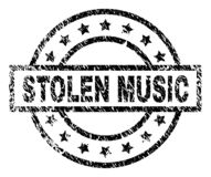 Grunge Textured STOLEN MUSIC Stamp Seal. STOLEN MUSIC stamp seal watermark with distress style. Designed with rectangle, circles and stars. Black vector rubber royalty free illustration