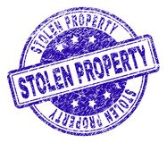 Grunge Textured STOLEN PROPERTY Stamp Seal. STOLEN PROPERTY stamp seal imprint with distress texture. Designed with rounded rectangles and circles. Blue vector royalty free illustration