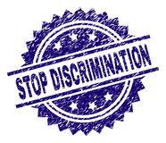 Grunge Textured STOP DISCRIMINATION Stamp Seal. STOP DISCRIMINATION stamp seal watermark with distress style. Blue vector rubber print of STOP DISCRIMINATION tag royalty free illustration