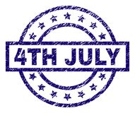 Grunge Textured 4TH JULY Stamp Seal. 4TH JULY stamp seal watermark with grunge texture. Designed with rectangle, circles and stars. Blue rubber print of 4TH JULY vector illustration