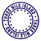 Grunge Textured THREE MILE ISLAND Round Stamp Seal stock illustration