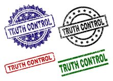 Grunge Textured TRUTH CONTROL Stamp Seals. TRUTH CONTROL seal stamps with corroded style. Black, green,red,blue vector rubber prints of TRUTH CONTROL title with stock illustration