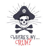 Grunge and textured vintage label. Grunge and textured vintage label, retro tee design or badge with pirate skull, sun bursts and Where's my rum typography sign Royalty Free Stock Photos