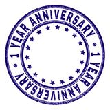 Grunge Textured 1 YEAR ANNIVERSARY Round Stamp Seal. 1 YEAR ANNIVERSARY stamp seal watermark with distress texture. Designed with circles and stars. Blue vector stock illustration