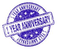 Grunge Textured 1 YEAR ANNIVERSARY Stamp Seal. 1 YEAR ANNIVERSARY stamp seal watermark with grunge texture. Designed with rounded rectangles and circles. Blue Vector Illustration