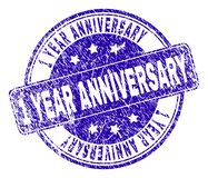 Grunge Textured 1 YEAR ANNIVERSARY Stamp Seal. 1 YEAR ANNIVERSARY stamp seal watermark with grunge style. Designed with rounded rectangle and circles. Blue royalty free illustration