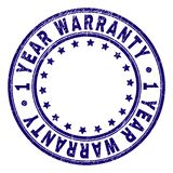 Grunge Textured 1 YEAR WARRANTY Round Stamp Seal. 1 YEAR WARRANTY stamp seal watermark with grunge effect. Designed with circles and stars. Blue vector rubber stock illustration