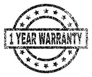 Grunge Textured 1 YEAR WARRANTY Stamp Seal. 1 YEAR WARRANTY stamp seal watermark with distress style. Designed with rectangle, circles and stars. Black rubber royalty free illustration