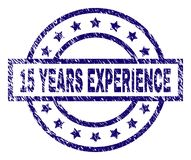 Grunge Textured 15 YEARS EXPERIENCE Stamp Seal. 15 YEARS EXPERIENCE stamp seal watermark with distress texture. Designed with rectangle, circles and stars. Blue Vector Illustration