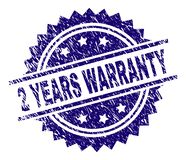 Grunge Textured 2 YEARS WARRANTY Stamp Seal. 2 YEARS WARRANTY stamp seal watermark with distress style. Blue vector rubber print of 2 YEARS WARRANTY text with vector illustration