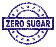 Grunge Textured ZERO SUGAR Stamp Seal. ZERO SUGAR seal print with distress texture. Designed with rectangle, circles and stars. Blue vector rubber print of ZERO royalty free illustration
