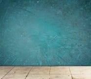 Grunge texturerad blå vägg- och golvmodell Royaltyfri Bild