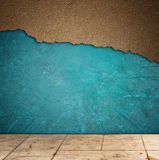 Grunge texturerad blå vägg- och golvmodell Arkivfoto