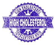 Grunge texturerad HÖJDPUNKT - kolesterolstämpelskyddsremsa med bandet royaltyfri illustrationer