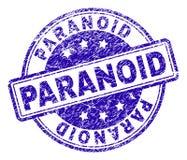 Grunge texturerad PARANOID stämpelskyddsremsa stock illustrationer