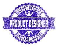 Grunge texturerad PRODUKTFORMGIVARE Stamp Seal med bandet vektor illustrationer
