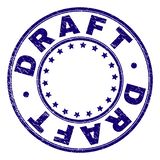Grunge texturerad rund stämpelskyddsremsa för UTKAST royaltyfri illustrationer