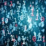 Grunge texturerade abstrakt begreppblått och röda nummer för binär kod Fotografering för Bildbyråer