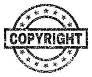 Grunge texturerade den COPYRIGHT stämpelskyddsremsan stock illustrationer