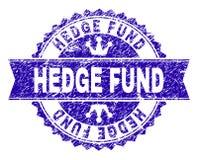 Grunge texturerade den HEDGE FUND stämpelskyddsremsan med bandet royaltyfri illustrationer