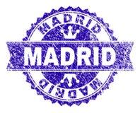 Grunge texturerade den MADRID stämpelskyddsremsan med bandet stock illustrationer