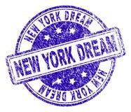 Grunge texturerade NEW YORK den DRÖM- stämpelskyddsremsan vektor illustrationer