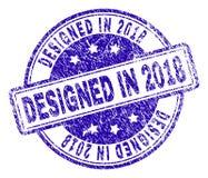 Grunge texturerade PLANLAGT I skyddsremsa för 2018 stämpel Royaltyfri Illustrationer