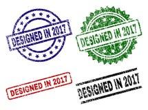 Grunge texturerade PLANLAGT I 2017 stämpelskyddsremsor stock illustrationer