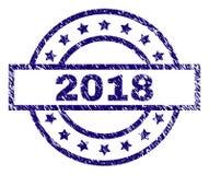 Grunge texturerade skyddsremsan för 2018 stämpel Royaltyfri Illustrationer