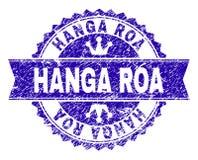 Grunge texturerade stämpelskyddsremsan för HANGA ROA med bandet royaltyfri illustrationer