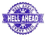 Grunge texturerade stämpelskyddsremsan för HELVETE FRAMÅT med bandet stock illustrationer