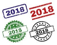 Grunge texturerade 2018 stämpelskyddsremsor Vektor Illustrationer