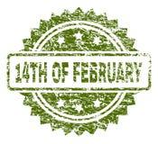 Grunge texturerade 14TH AV den FEBRUARI stämpelskyddsremsan Royaltyfri Bild