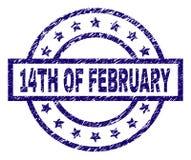 Grunge texturerade 14TH AV den FEBRUARI stämpelskyddsremsan Arkivfoton