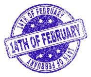 Grunge texturerade 14TH AV den FEBRUARI stämpelskyddsremsan Arkivbilder