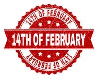 Grunge texturerade 14TH AV den FEBRUARI stämpelskyddsremsan Royaltyfri Fotografi