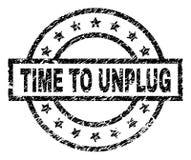 Grunge texturerade TID för ATT KOPPLA FRÅN stämpelskyddsremsan stock illustrationer