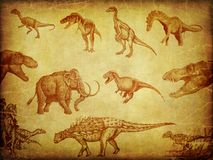 Grunge textures with dinosaurs Stock Photo