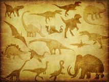 Grunge textures with dinosaurs Royalty Free Stock Image