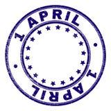 Grunge texturisé 1 APRIL Round Stamp Seal illustration de vecteur