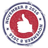Grunge thumb up rubber stamp. USA presidential election patriotic seal with thumb up silhouette and November 8, 2016 text. Rubber stamp vector illustration Royalty Free Stock Images