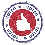 Grunge thumb up rubber stamp. USA presidential election patriotic seal with thumb up silhouette and I voted text. Rubber stamp vector illustration Royalty Free Stock Image